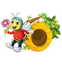 A bee holding a flower vector image vector image