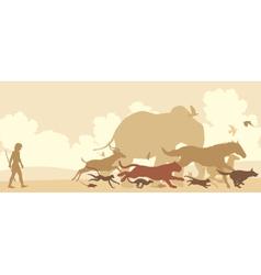 Animals fleeing man vector image