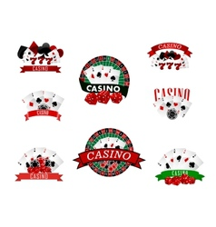 Casino and gambling badges icons or emblems vector image vector image