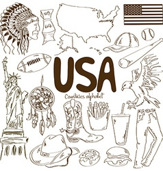 Collection of USA icons vector image vector image