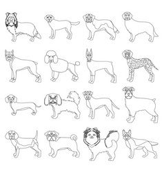 dog pooch breed and other web icon in outline vector image vector image