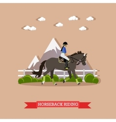 Girl horseback riding flat design vector image