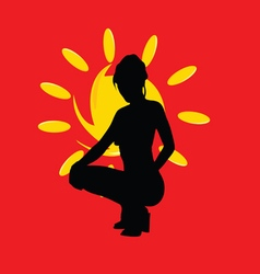 girl with sun silhouette on red vector image vector image