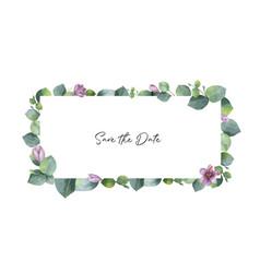watercolor banner with green eucalyptus vector image vector image