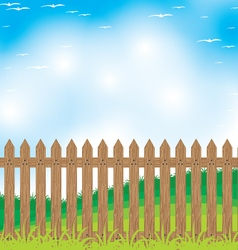 Wooden fence on a Mountain and Tree background vector image