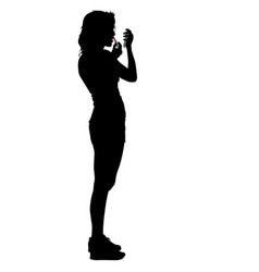 black silhouette woman paint lipstick people on vector image vector image