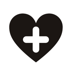 heart and cross icon vector image vector image