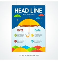 Placard Poster Template with Umbrellas vector image vector image