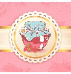 Strawberry jam retro background vector image