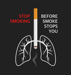 3d realistic cigarette lungs smoke vector image