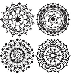 A set of mandalas and lace decorations vector