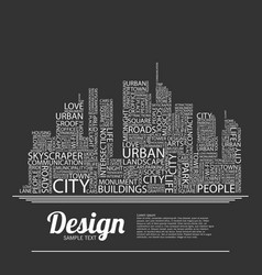 abstract buildings made from words vector image