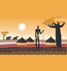 africa landscape village and african people vector image