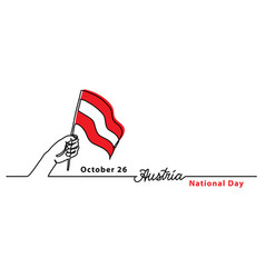 austria national day simple web banner with flag vector image