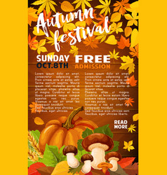 Autumn harvest festival banner of fall season vector