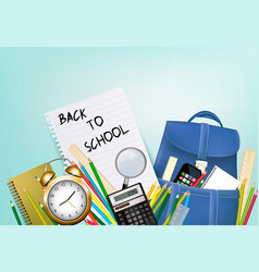 back to school background with supplies and sheet vector image