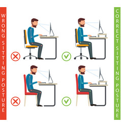 bad and good working position human at computer vector image