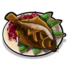 Baked flounder on a plate with vegetables the vector
