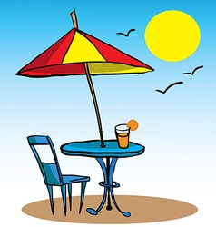 Beach umbrella table chair and juice vector