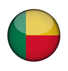 benin flag in glossy round button of icon benin vector image