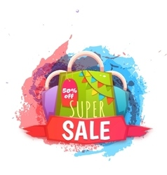 Big sale banner with color packet vector image