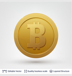 bitcoin symbol on round coin with drop shadow vector image