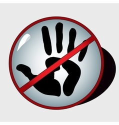 Black imprint of right hand in the stop sign vector image