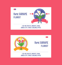 bouquet business card beautiful floral vector image