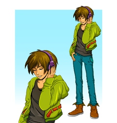 boy with headphones vector image