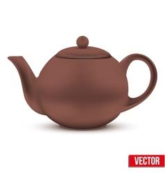 Brown ceramic teapot vector