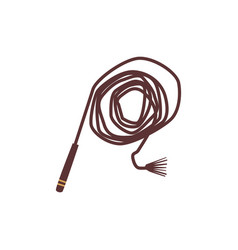 Brown cowboy leather whip isolated on white vector