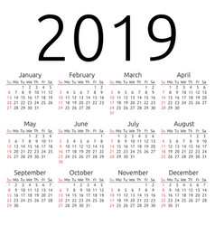 Calendar 2019 sunday vector