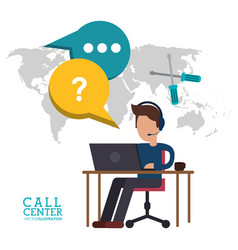 call center man desk work talk vector image