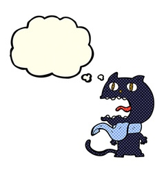 Cartoon frightened cat with thought bubble vector