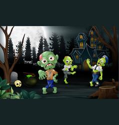 Cartoon three zombie celebration a halloween party vector