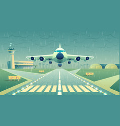 cartoon white airliner jet over runway vector image
