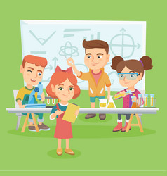 caucasian kids working at chemistry class vector image