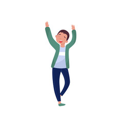 cheerful teenager boy dancing with hands up vector image