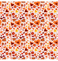 children seamless pattern with hearts and flowers vector image