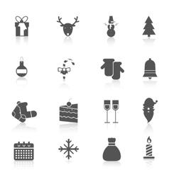 Christmas icons set black vector image