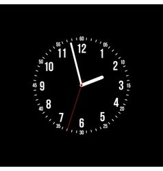clock on a black background vector image