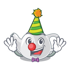 clown teapot porcelain in a shape cartoon vector image