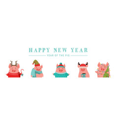collection of cute winter pigs happy new 2019 vector image