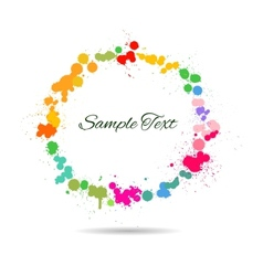 Colorful watercolor splashes in circle vector