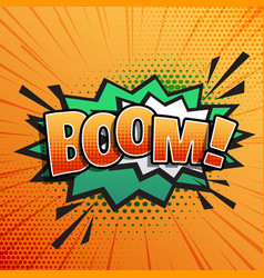 Comic sound text effect boom in pop style art vector