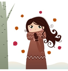 Cute autumn lady in coat and scarf vector