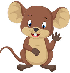 cute mouse cartoon waving vector image