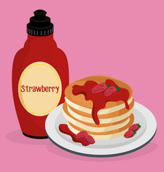 Delicious pudding with syrup bottle sweet menu vector