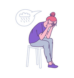 depressed lonely woman clasping her head cartoon vector image