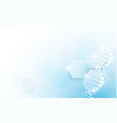 Dna molecules structure on soft blue background vector